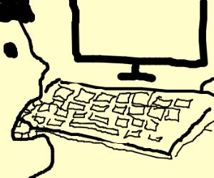 Man tries to eat keyboard