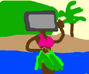 Girl with TV for head does the hula in Hawaii