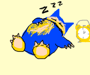 Snorlax about to be waken up by table clock