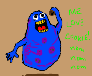 Slimer/cookie monster chows down