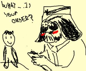Embarrased Vader taken your Food order