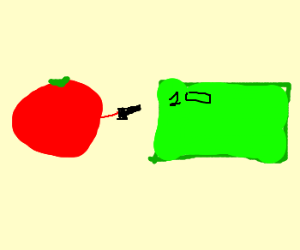 tomato shoots a dollar bill