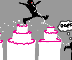 Cake jumping man knifed by mistake