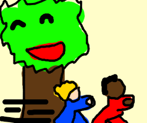 Two young boys run past a tree in joy.