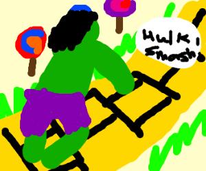 Hulk smashes his way down Yellow Brick Road