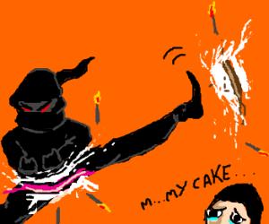 Ninja smashes birthday cakes