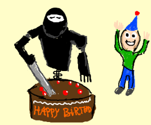 Robot Ninja cuts your birthday cake for you
