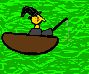 Old witch fishes in green sea