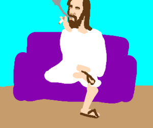 unimpressed Jesus smoking on a couch