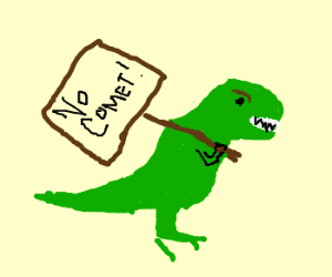 Dinosaurs holding protest signs