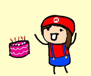 Super Mari gets a cake for his birthday