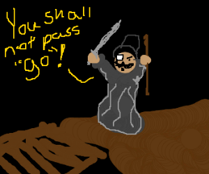 Mr. Pennybags fills in for Gandalf