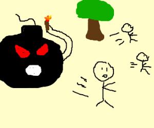 Bozo the Bomb terrorizes children in park