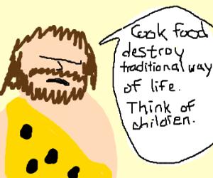 Angry caveman politician rants.