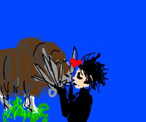 a musk ox and Edward Scissorhands kiss
