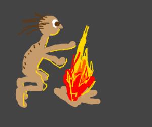 Gollum, camping, gets angry at hobbits