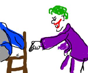The joker puts a thumbtack in Batmans chair