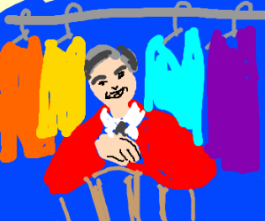 Mister Rogers with his sweater collection
