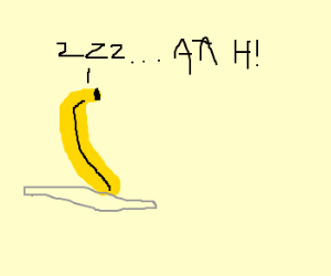 Banana having nightmares in a bed of glass