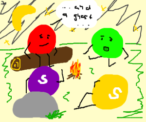 Four Skittles telling ghost stories @ campfire
