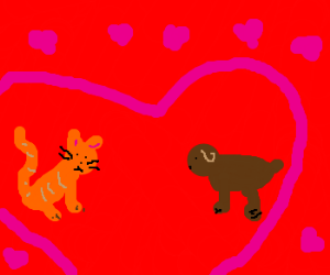cat+dog love story - Drawception