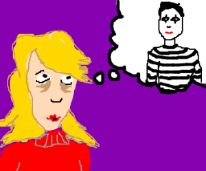 Woman dreamily thinks of street mime