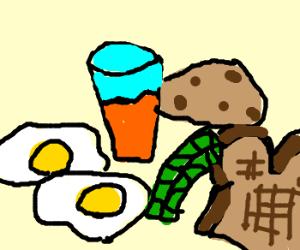 eggs, toast, asparagus, cookie, orange juice