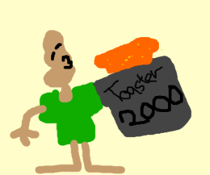 """Deformed person replaces arm w/ """"Toaster 2000"""""""