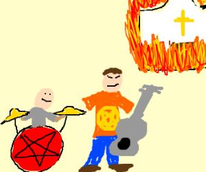 Satanic band burns down church