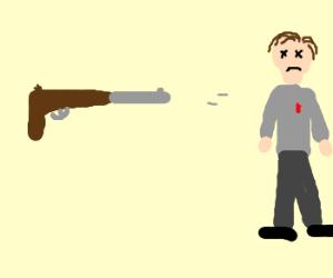 rifle shoots man