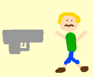 The dazed blonde boy is held up at gun point