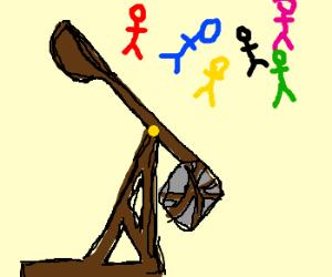 Catapulting stick figure Power Rangers