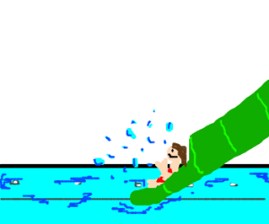 A kid in a water slide