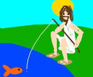 Resurrected Jesus Happily Goes Fishing