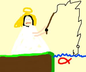 An angel fishing for love.