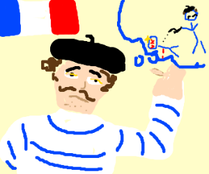 French dude with mustache planning murder!!!