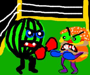 Watermelon vs. Burger in boxing