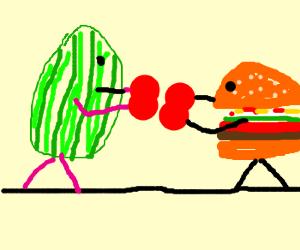 watermelon vs hamburger