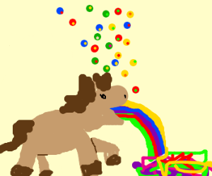 a horse is puking rainbows