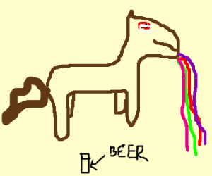A brown intoxicated pony throwing up rainbows