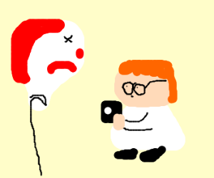 dexter take a pic of a dead ronald baloon