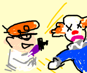 Dexter kills a clown by taking a picture
