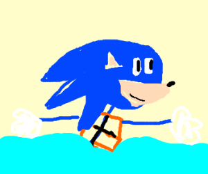 Sonic Swimming with life jacket