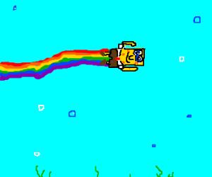 SpongeBob makes a Rainbow
