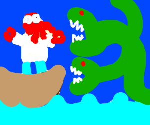 Zoidberg with a sea monster