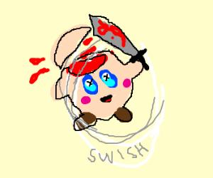 Kirby slices off top of his head with sword