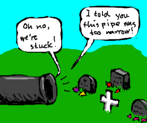 People stuck in a pipe leading to cemetery