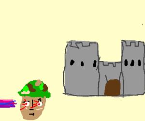 Eye laser beams soldier defending castle