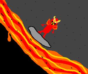 Demons surfing down lava.
