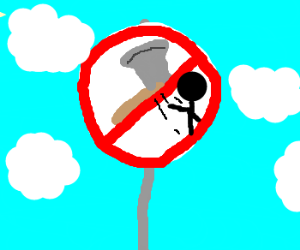 """No tomohawk throwing"" sign post"